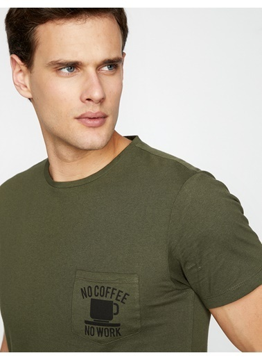 Koton Baskılı T-Shirt Haki